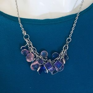 Silver Tone Necklace with purple n pink pendants